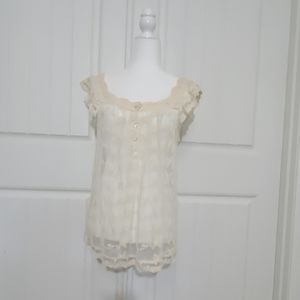 American Rag Sheer Lace Top with Crochet Trim